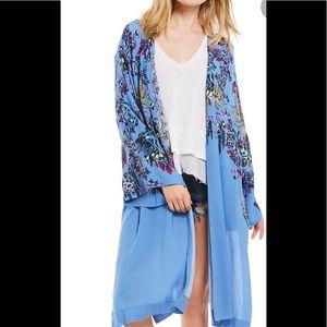 Free People blue kimono duster nwot